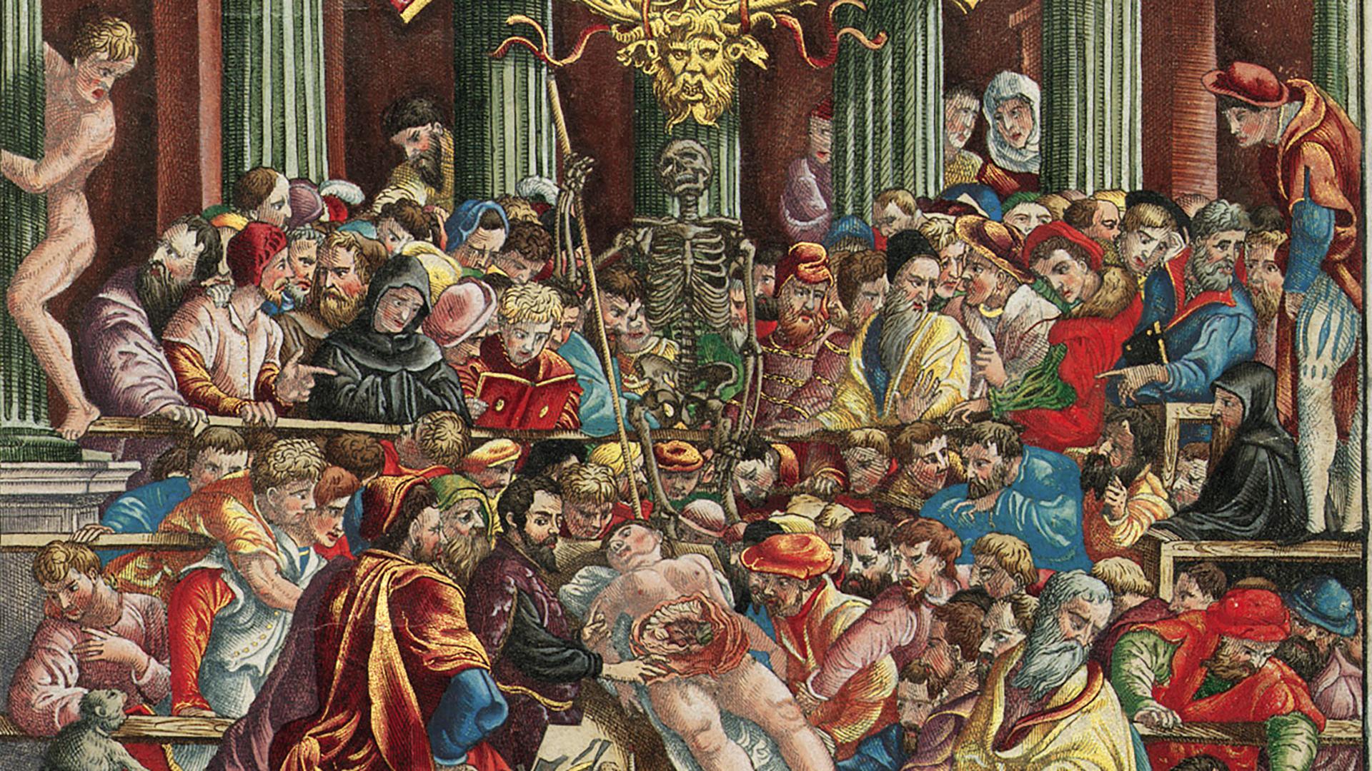 Detalle color, Frontispicio de De humani corporis fabrica, de Andrea Vesalio, Basilea 1543
