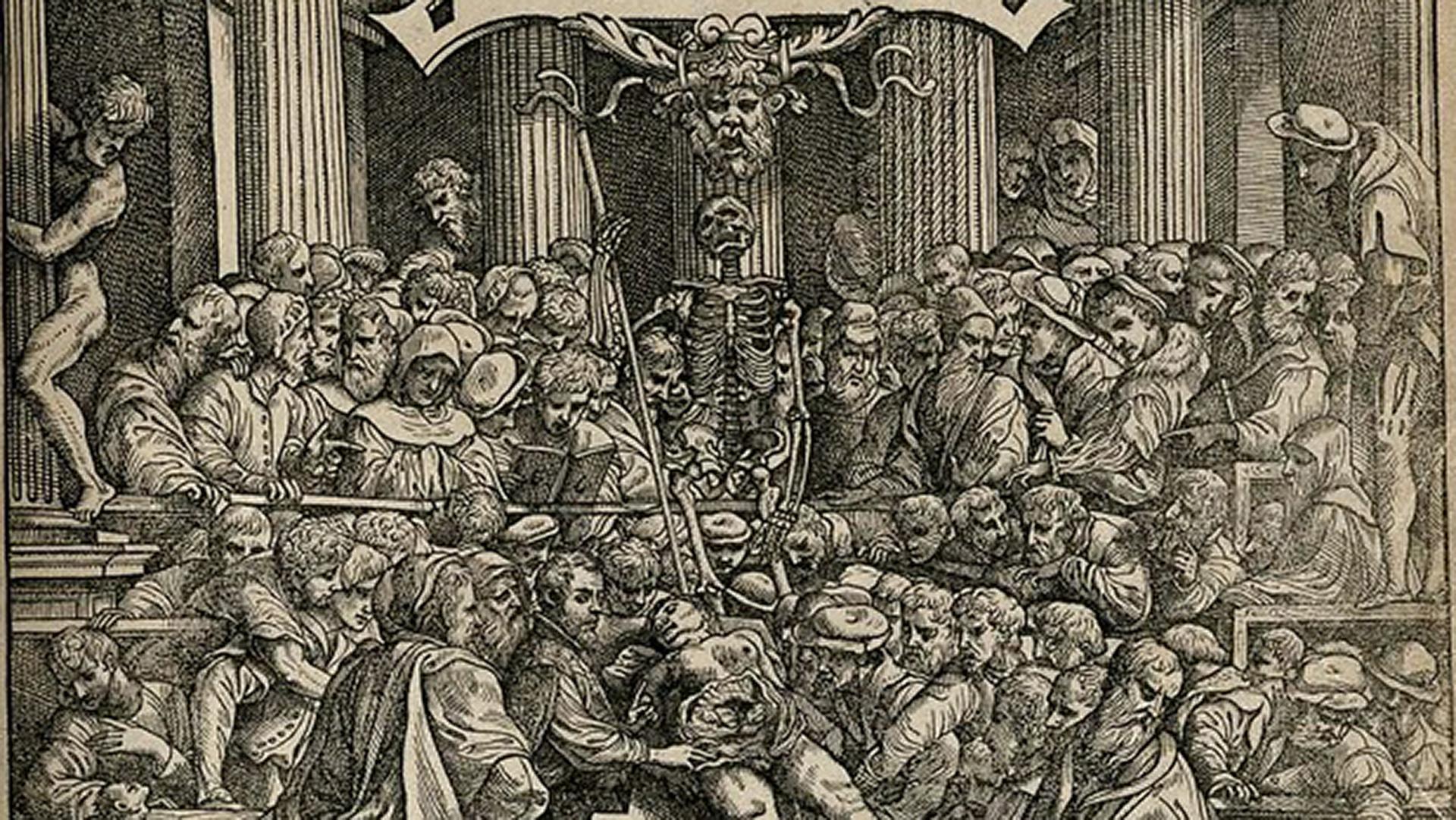 Detalle Frontispicio de De humani corporis fabrica, de Andrea Vesalio, Basilea 1543